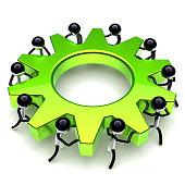 gear wheel teamwork, cogwheel business process. partnership, manpower, worker characters. men team work turning green gearwheel together. cooperation community icon. 3d illustration