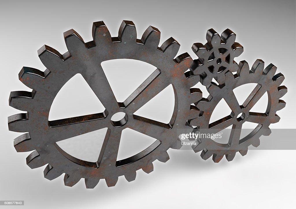 Attrezzatura ruote di metallo Arrugginito. : Foto stock