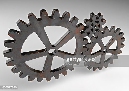 Gear wheels from rusty metal. : Stock Photo