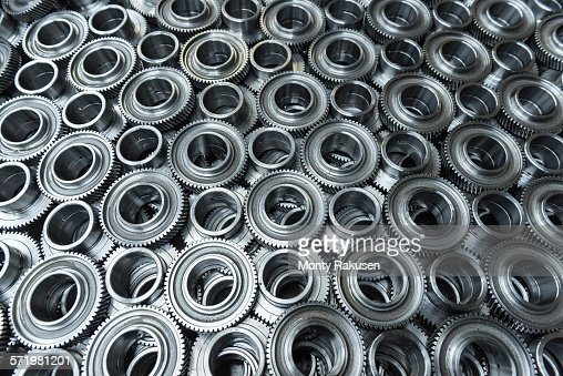 Gear wheels in production in engineering factory