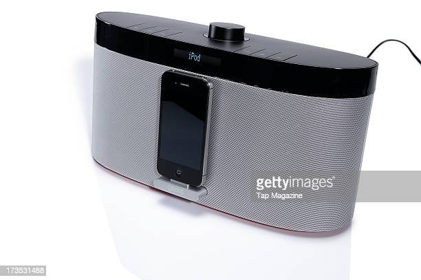 A Gear4 AirZone Series 1 AirPlay speaker and Apple iPhone 4S smartphone photographed during a studio shoot for Tap Magazine April 27 2012