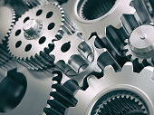 Gears and cogwheels engine  industrial background. 3d illustrartion