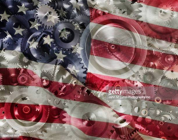 Gears reflected in United States flag
