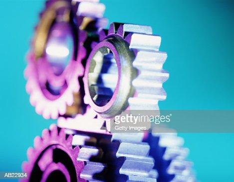 Gears rotating, close-up : Stock Photo