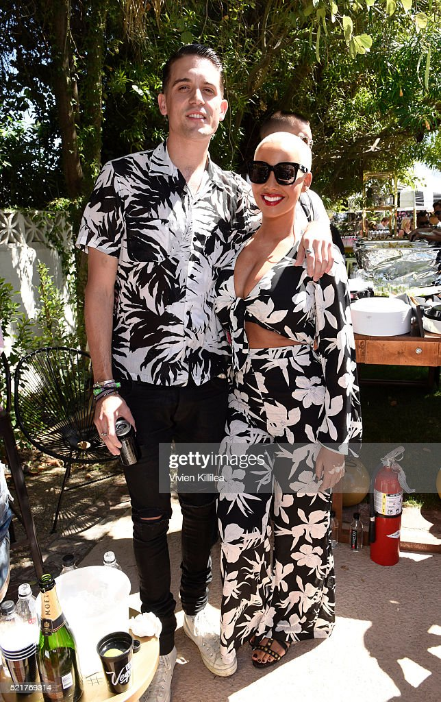G-Eazy and Amber Rose attend The Music Lounge In Palm Springs at the Ingleside Inn on April 16, 2016 in Palm Springs, California.