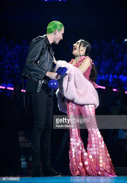 Eazy and Charli XCX on stage at the MTV Europe Music Awards 2016 on November 6 2016 in Rotterdam Netherlands