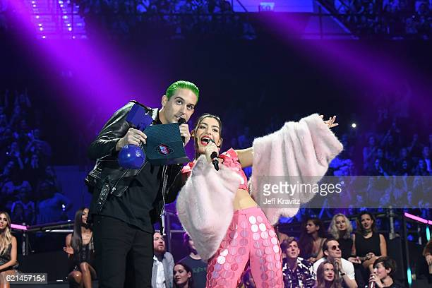 Eazy and Charli XCX present to the award for Best Electronic to Martin Garrix on stage at the MTV Europe Music Awards 2016 on November 6 2016 in...