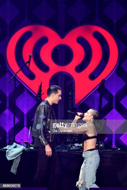 Eazy and Halsey perform onstage at the Z100's Jingle Ball 2017 on December 8 2017 in New York City