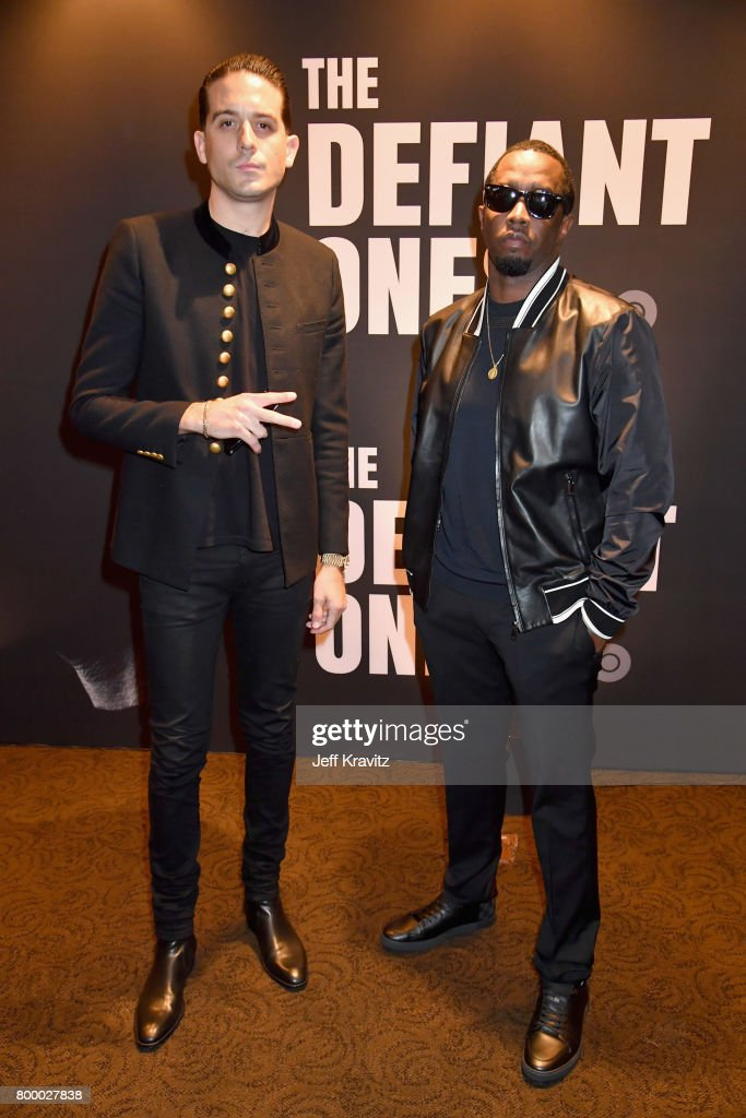 G-Eazy and Sean 'Diddy' Combs attend HBO's 'The Defiant Ones' premiere at Paramount Studios on June 22, 2017 in Los Angeles, California.