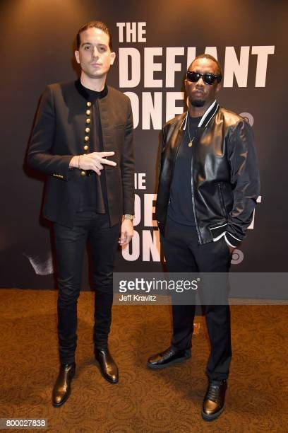 Eazy and Sean 'Diddy' Combs attend HBO's 'The Defiant Ones' premiere at Paramount Studios on June 22 2017 in Los Angeles California