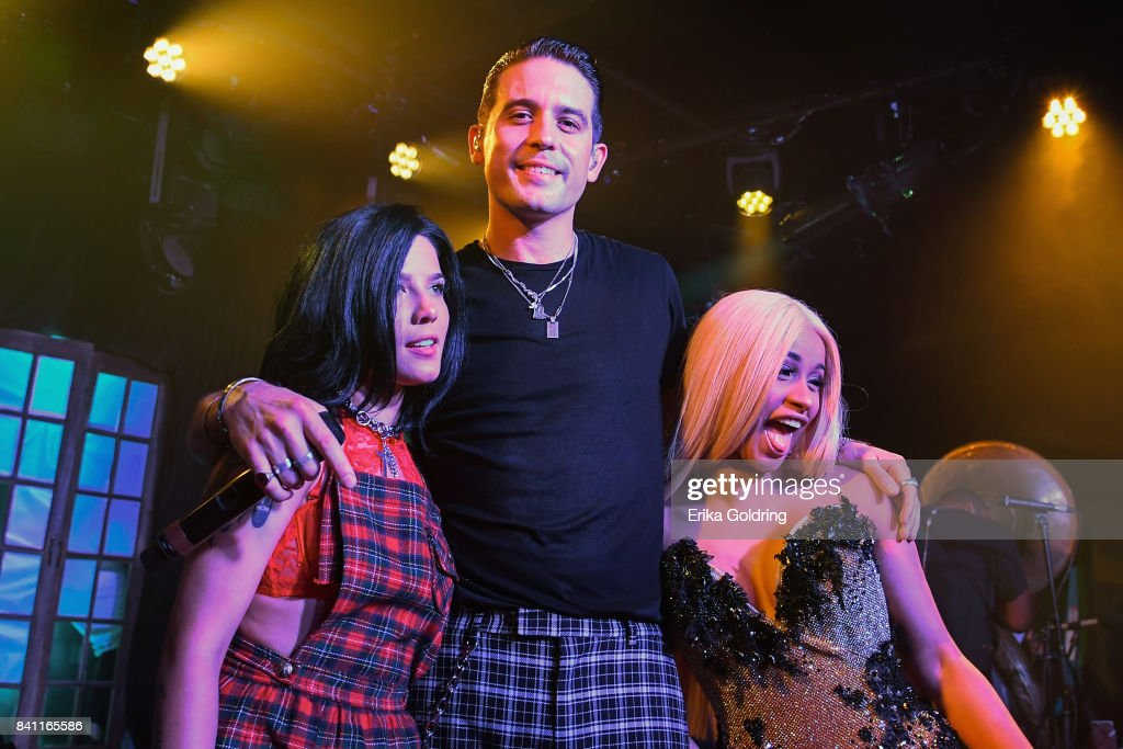 G-Eazy (C) surprises fans at Blue Nile on August 30, 2017 in New Orleans, Louisiana, with an intimate performance of his new album, joined by musical friends Halsey (L) and Cardi B (R).
