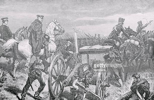 Gebhard Leberecht von Blucher and his army marching to Waterloo to battle Napoleon