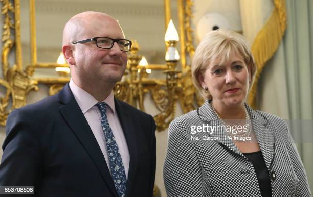 Ged Nash and Heather Humphreys after they received their Ministerial Seals of Office at Aras an Uachtarain Dublin after today's cabinet reshuffle as...