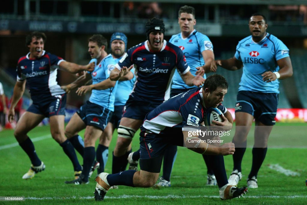 Ged Robinson of the Rebels scores a try during the round three Super Rugby match between the Waratahs and the Rebels at Allianz Stadium on March 1, 2013 in Sydney, Australia.