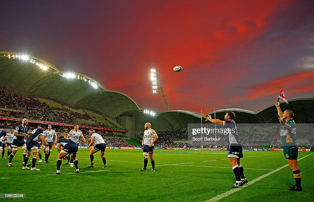 Ged Robinson of the Rebels throws the ball into the lineout during the round two Super Rugby match between the Melbourne Rebels and the Brumbies at...