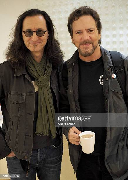 Geddy Lee and Eddie Vedder during rehearsals for The Who's 50th Anniversary Gig for The Teenage Cancer Trust at British Grove Studios on November 10...