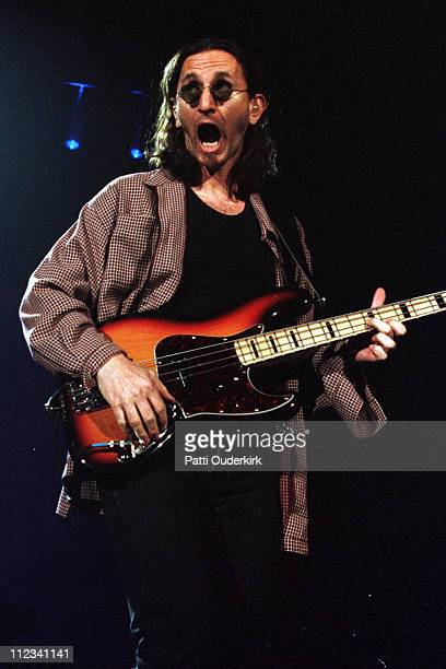 Geddy Lee of Rush during Rush in Concert at Nassau Coliseum 1996 at Nassau Veterans Memorial Coliseum in Uniondale New York United States
