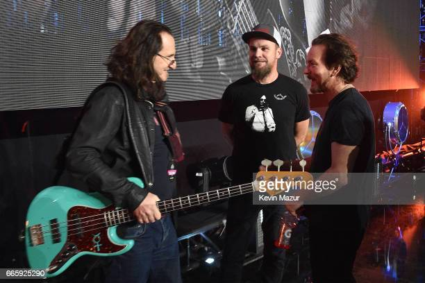 Geddy Lee of Rush Jeff Ament and Eddie Vedder of Pearl Jam attend 32nd Annual Rock Roll Hall Of Fame Induction Ceremony at Barclays Center on April 7...