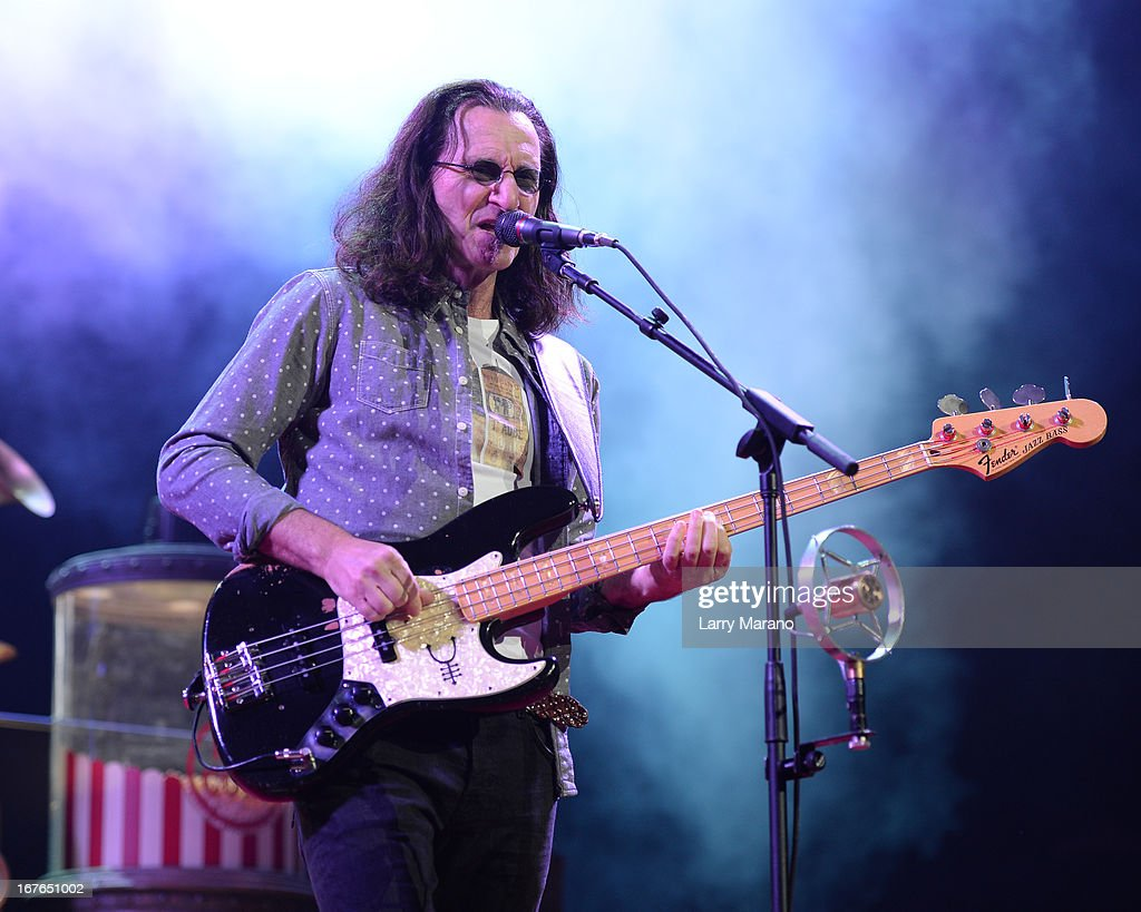 Geddy Lee of Rush performs at BB&T Center on April 26, 2013 in Sunrise, Florida.