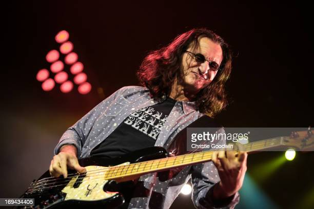 Geddy Lee of Rush performs on stage at O2 Arena on May 24 2013 in London England