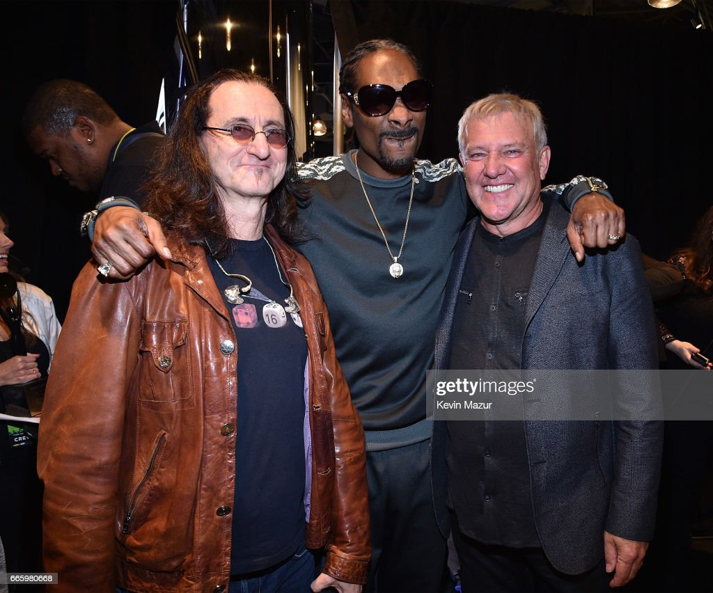 Geddy Lee of Rush, Snoop Dogg and Alex Lifeson of Rush attend 32nd Annual Rock & Roll Hall Of Fame Induction Ceremony at Barclays Center on April 7, 2017 in New York City. The broadcast will air on Saturday, April 29, 2017 at 8:00 PM ET/PT on HBO.