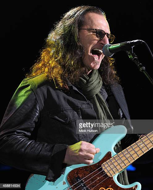 Geddy Lee performs on stage as part of an evening of The Who music in aid of Teenage Cancer Trust at O2 Shepherd's Bush Empire on November 11 2014 in...