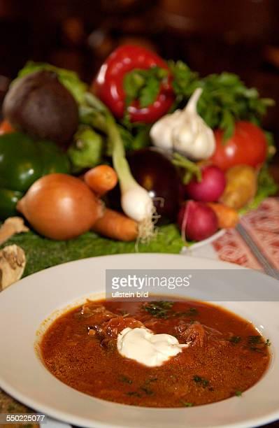 Gedeckter Tisch im russischen Restaurant Voland in Berlin Borschtsch