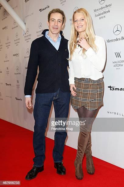 Gedeon Burkhard and Anika Bormann attend the Laurel show during MercedesBenz Fashion Week Autumn/Winter 2014/15 at Brandenburg Gate on January 16...