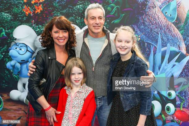 Gedeon Burkhard and family arrive at the 'Die Schluempfe Das verlorene Dorf' Berlin premiere at Sony Centre on April 2 2017 in Berlin Germany