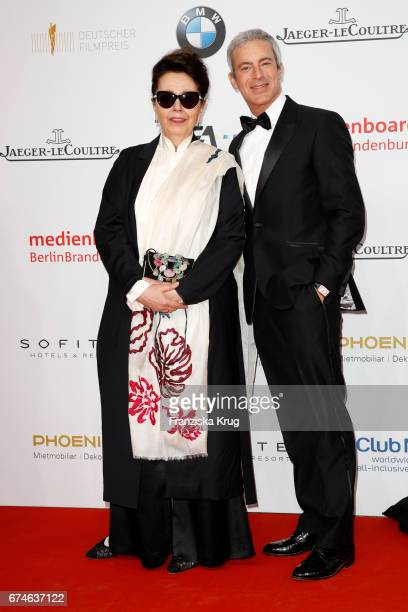 Gedeon Burkhard and his mother Elisabeth von Molo during the Lola German Film Award red carpet arrivals at Messe Berlin on April 28 2017 in Berlin...