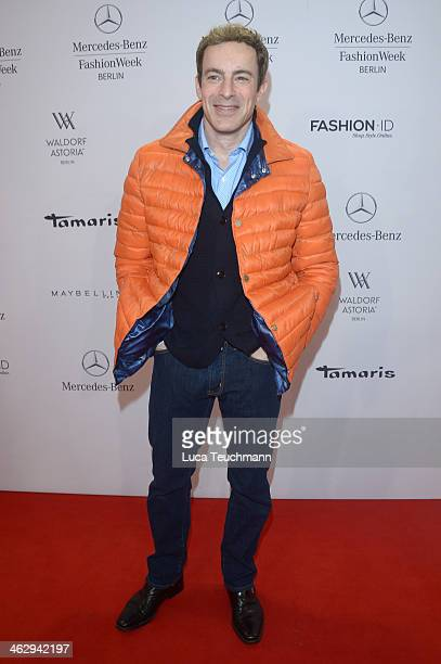 Gedeon Burkhard attends the Holy Ghost show during MercedesBenz Fashion Week Autumn/Winter 2014/15 at Brandenburg Gate on January 16 2014 in Berlin...