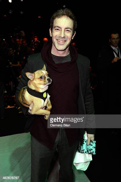 Gedeon Burkhard attends the Marc Stone show during MercedesBenz Fashion Week Autumn/Winter 2014/15 at Brandenburg Gate on January 14 2014 in Berlin...