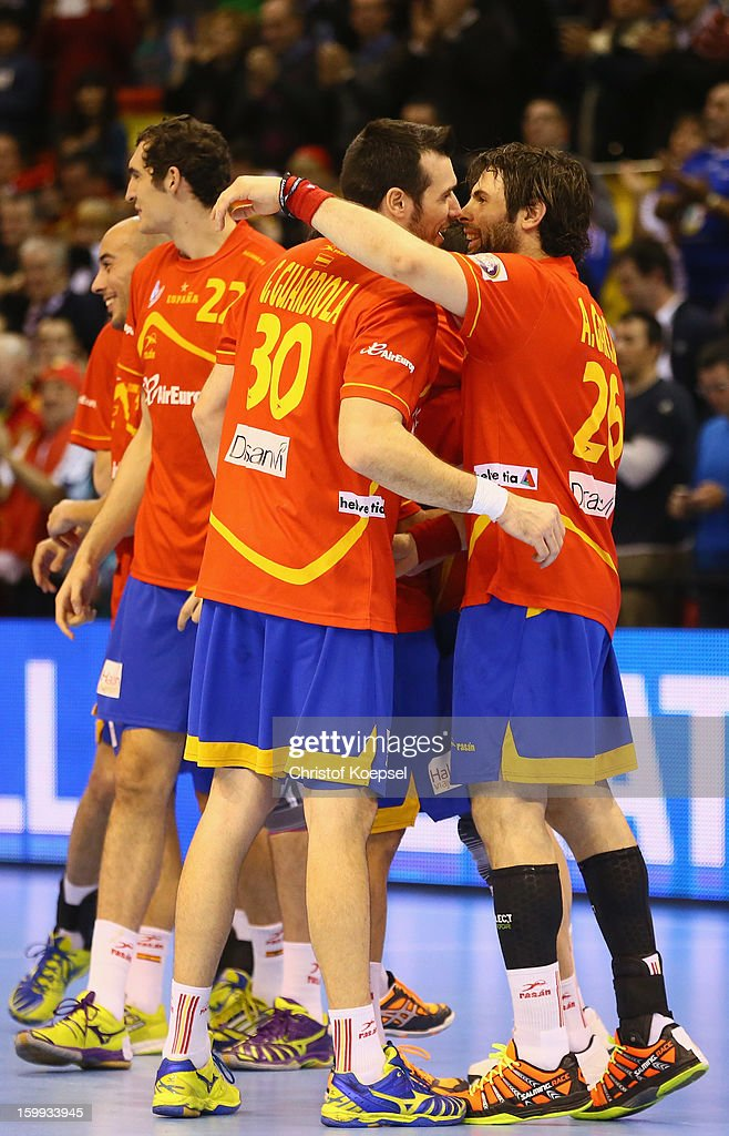 Gedeon Guardiola aned Antonio Garcia of Spain celebrate the 28-24 vicotry after the quarterfinal match between Spain and Germany at Pabellon Principe Felipe Arena on January 23, 2013 in Barcelona, Spain.