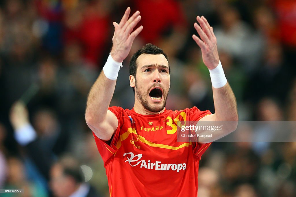 Gedeon Guardiola of Spain celebrates during the Men's Handball World Championship 2013 final match between Spain and Denmark at Palau Sant Jordi on January 27, 2013 in Barcelona, Spain.