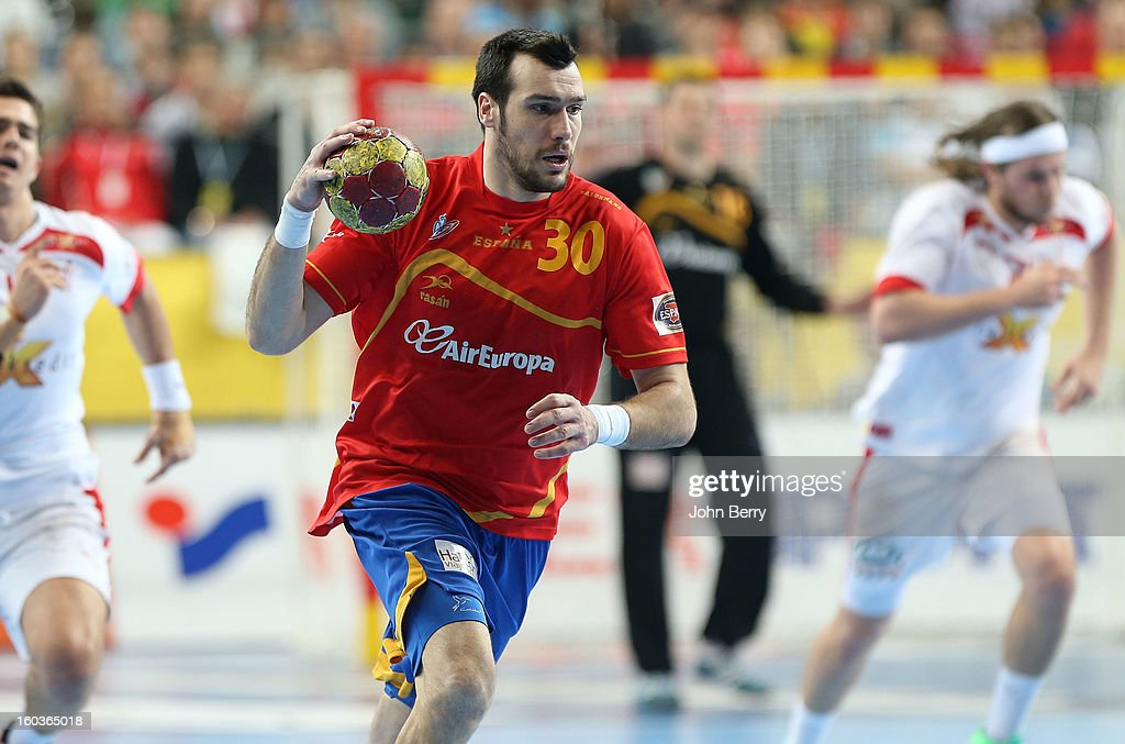 Gedeon Guardiola of Spain in action during the Men's Handball World Championship 2013 final match between Spain and Denmark at Palau Sant Jordi on January 27, 2013 in Barcelona, Spain.