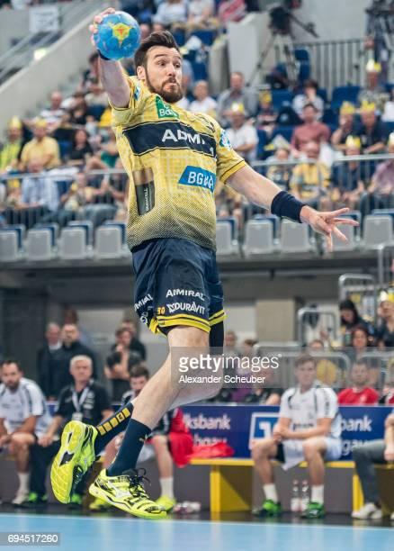 Gedeon Guardiola Villaplana of Rhein Neckar Loewen in action during the DKB HBL match between Rhein Neckar Loewen and MT Melsungen at SAP Arena on...