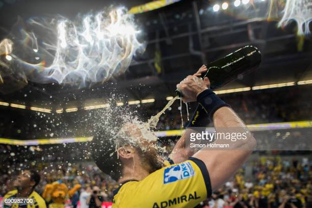 Gedeon Guardiola Villaplana of RheinNeckar Loewen celebrates after the DKB HBL match between RheinNeckar Loewen and THW Kiel at SAP Arena on May 31...