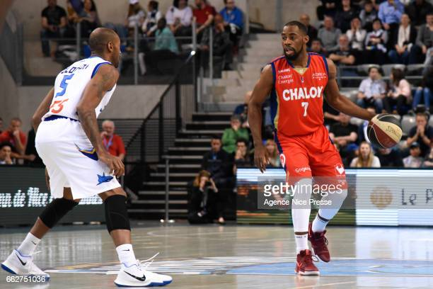 Gedeon Pitard of Chalon and Will Solomon of Antibes during the French Pro A match between Antibes and Chalon sur Saone on March 31 2017 in Antibes...