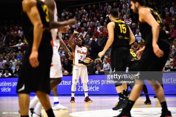Gedeon Pitard of Chalon during the FIBA Europe Cup match semi final second leg between Elan Chalon sur Saone and BC Oostende on April 5 2017 in...