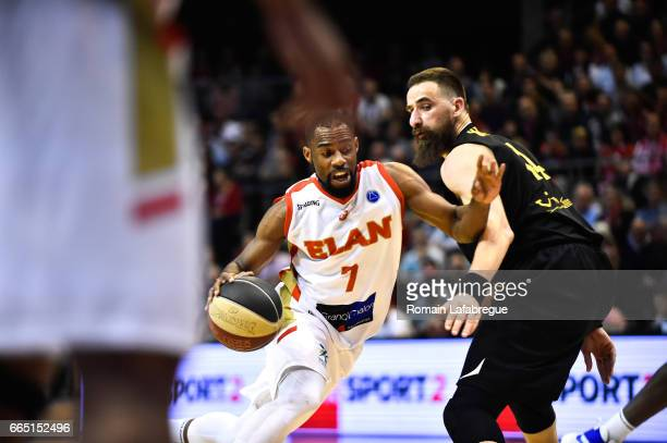 Gedeon Pitard of Chalon Rasko Katic of Oostende during the FIBA Europe Cup match semi final second leg between Elan Chalon sur Saone and BC Oostende...