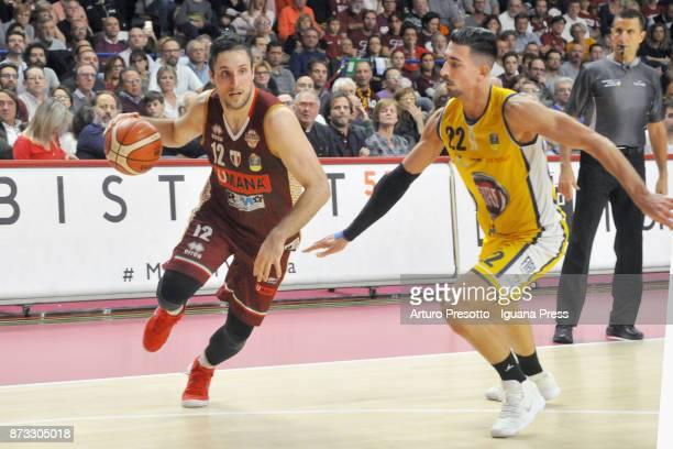 Gediminas Orelik of Umana competes with Valerio Mazzola of Fiat during the LBA LegaBasket of Serie A match between Reyer Umana Venezia and Auxilium...