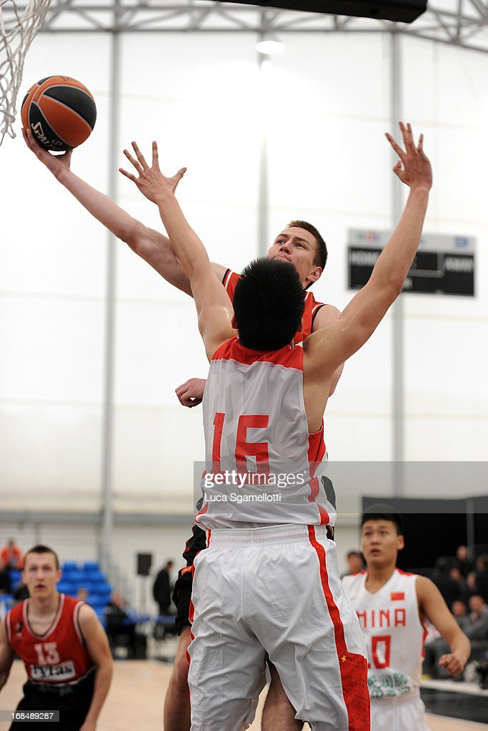 Gediminas Zalalis, #14 of Lietuvos Rytas Vilnius in action during the Nike International Junior Tournament game between Lietuvos Rytas Vilnius v Team China at London Soccerdome on May 10, 2013 in London, United Kingdom.