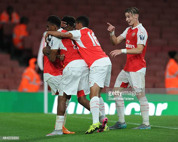 Gedion Zelalem celebrates scoring Arsenal's goal with Alex Iwobi Yassin Fortune and Ben Sheaf during the Barclays U21 match between Arsenal and...