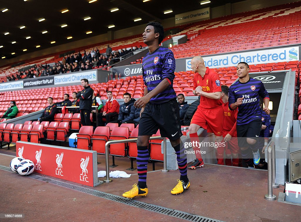 Gedion Zelalem of Arsenal before the Barclays Under-21 League match between Liverpool U21 and Arsenal U21 at Anfield on April 08, 2013 in Liverpool, England.