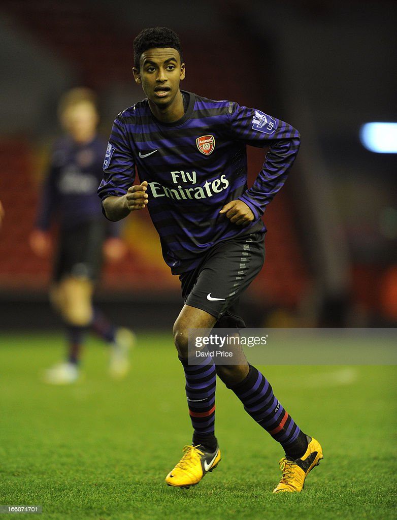 Gedion Zelalem of Arsenal during the Barclays Under-21 League match between Liverpool U21 and Arsenal U21 at Anfield on April 08, 2013 in Liverpool, England.
