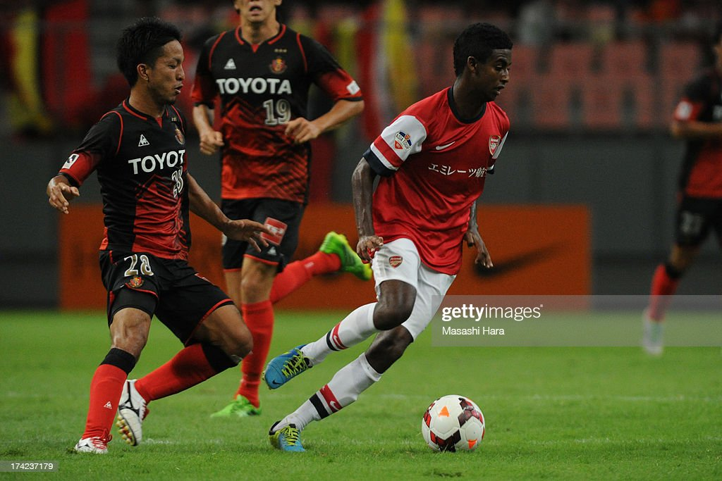 Gedion Zelalem #35 of Arsenal in action during the pre-season friendly match between Nagoya Grampus and Arsenal at Toyota Stadium on July 22, 2013 in Toyota, Aichi, Japan.