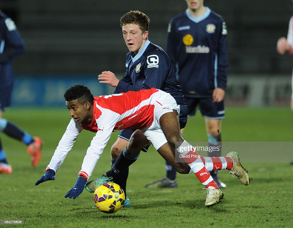 Gedion Zelalem of Arsenal is challenged by Oliver Finney of Crewe during the match between Arsenal U18 and Crewe Alexandra U18 in the FA Youth Cup...