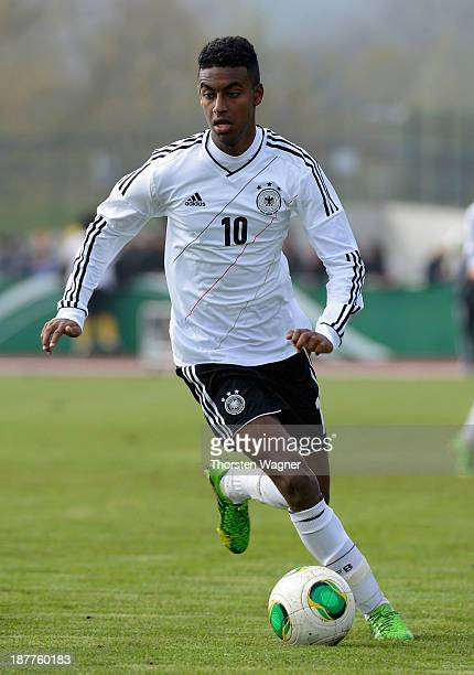 Gedion Zelalem of Germany runs with the ball during the U17 international friendly match between Germany and Spain at stadium Wetzlar on November 12...