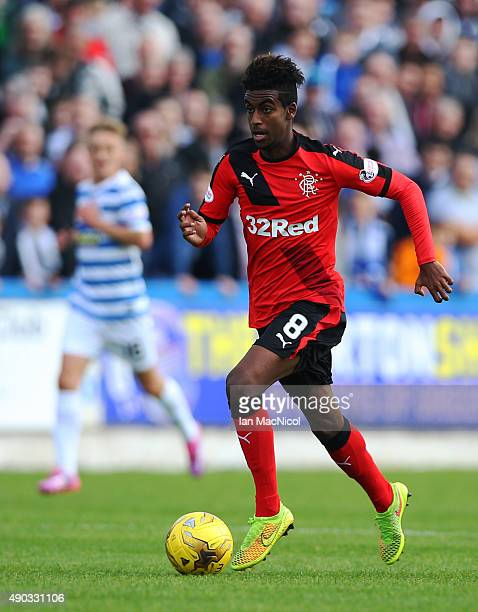 Gedion Zelalem of Rangers controls the ball during the Scottish Championships match between Greenock Morton FC and Rangers at Cappielow Park on...