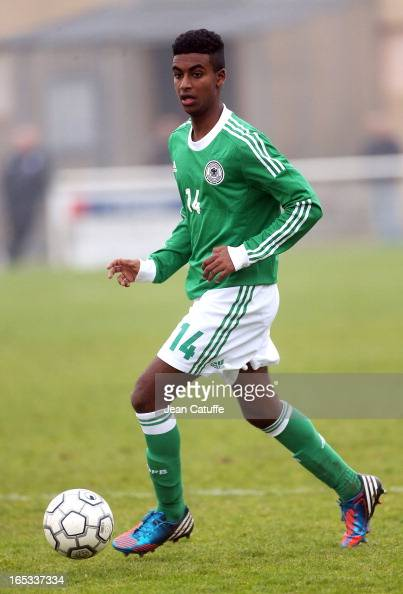 Gedion Zezalem of Germany in action during the Tournament of Montaigu qualifier match between U16 Germany and U16 England at the Stade Saint Andre...